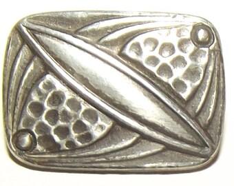 Antique Button ~ Sterling Silver Metal Button Square w/ Arts & Crafts Design