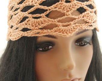 Crocheted Flower Mesh Hat. Adult. Beanie. Peach. Beige.