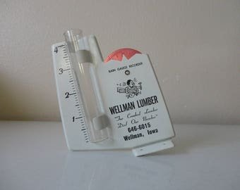"VINTAGE wellman lumber ""for crooked lumber dial our number"" RAIN GAUGE"