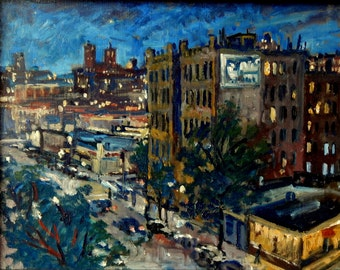 Oil Painting, Broadway Lights, NYC Nocturne. American Realist 11x14 Oil, New York City Impressionist Night Scene, Signed Original Cityscape