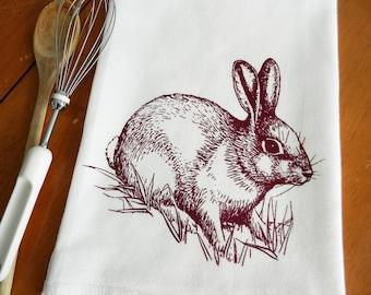 Rabbit Kitchen Towel, Rabbit Dish Towel, Screen Printed Flour Sack Dish Towel, Rabbit Tea Towel, Kitchen Towel, Woodland, Farmhouse