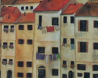 VENICE LAUNDRY DAY in  Italy Painting Reproduction Print Europe European Unframed Award Winning