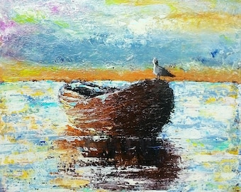 Acrylic Palette Knife Impressionist Boat Painting