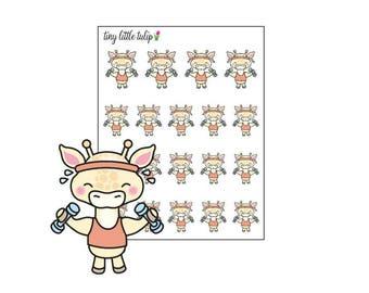 Planner Stickers Giraffe Workout/Dumbbells