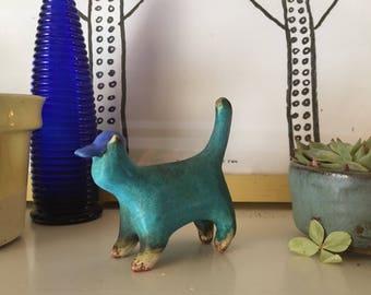 Handmade Turquoise Ceramic Cat with Baseball Hat - Baseball Kitty Cat Figurine- Stoneware Kitten Sculpture