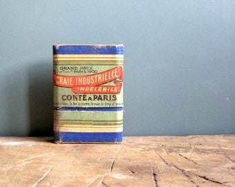 A box of vintage French chalks, conté chalks, crayons conté, indelible chalk, craies industrielles, blue chalks, vintage packaging