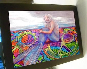 greeting card zentangle mermaid blank card