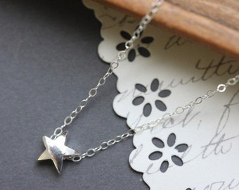 Star Necklace Sterling Silver Star Pendant Necklace  Graduation Gift Simple Everyday Necklace