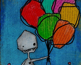 Bunch o' Balloons MADE TO ORDER original mixed media painting on 5.5X5.5 canvas
