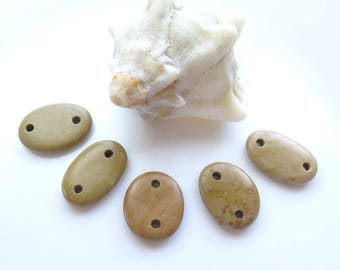 Double Drilled Beach Stone Connectors, Natural Stone Jewelry Supplies, Organic Natural Beads, Sea Stones Beach Pebbles, Stone Buttons