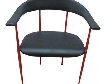 Vintage Mid Century Metal Danish Modern Barrel Arm Chair A