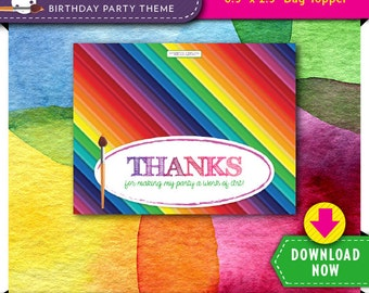 Art Party Treat Bag Topper | Printable Candy Bag Toppers | Labels for Birthday Party Favor Bags | Instant Download