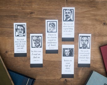 Third Set of 6 Bookmarks of Classic Authors with Quotes for the Book Lover-- literary gifts for teacher -- classic literature gift