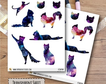 Clear Cosmic Cat Stickers || CS030 || Planner Stickers