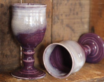Purple Haze Wine Goblet tumblers cups by village pottery pei