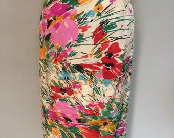 1980s Vintage Raul Blanco Floral Silk Pencil Skirt with Ruching