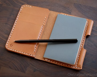 """Small notebook wallet and pen """"Park Sloper Junior"""" bridle leather - tan"""