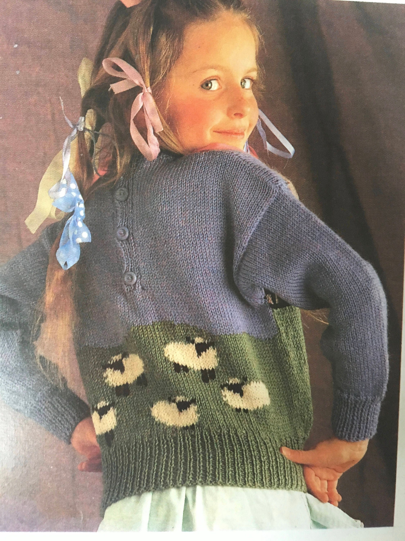 Childrens Jumper Knitting Pattern, Little Bo Peep Sweater, Patons ...