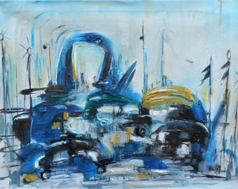 """Original abstract oil painting, cityscape, by Nalan Laluk: """"Traffic, 2"""""""