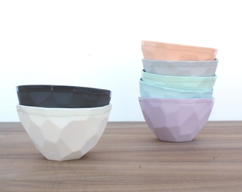 slip cast faceted geo ice cream bowl