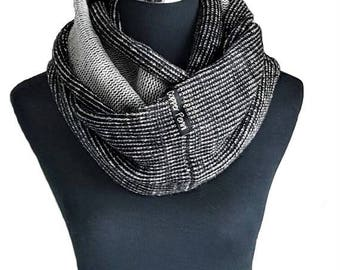 Mens knitted scarf for men, Black mens infinity scarf men,  Unique mens gifts for him Husband gift. Birthday gift for husband