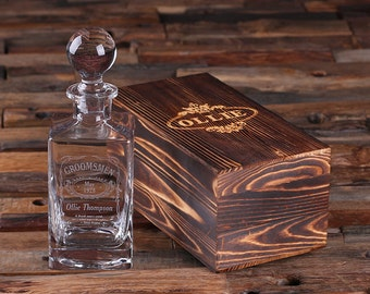 Set of 4 - Personalized Engraved Etched Whiskey Scotch Decanter Bottle with Optional Wood Box Groomsmen Boyfriend Men's Gift (025823)