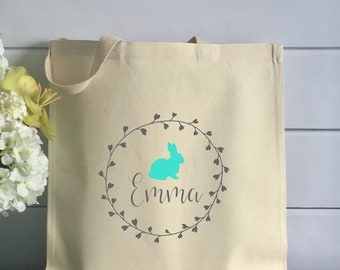 Personalized Easter Tote Bag with Vine Wreath and Bunny (Item 1266J)