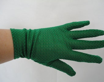 Vintage Green Bri Nylon Over Wrist Gloves - 1960s - UK 7 - Ideal Wedding/Prom/Cruise/Revival/Reenactment - Mod/Gogo/Disco