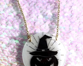 Witch Pumpkin Necklace - Circle, Halloween, Spooky, Jack O' Lantern