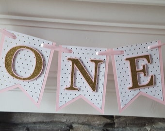 pink and gold first birthday * pink and gold birthday * pink and gold party * first birthday * high chair banner * pink and gold *gold heart
