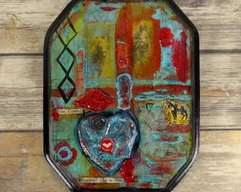 Abstract Collage Horse Cowboy Art Reclaimed Mixed Media Found Object Western