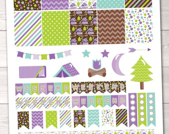 Glamping Printable Planner Stickers in Purple & Green Full Boxes Graphics Weekend Banners To Do Checklists