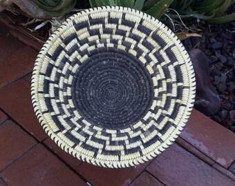 Native American Basket Tohono O'odham Geometric Pattern Hand Woven By Master Basket Weaver Reuben Naranjo Free Ship