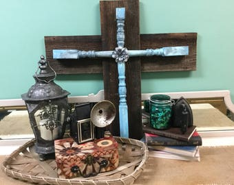 Rugged wooden spindle cross