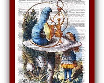 Alice in Wonderland Home Decor Alice Caterpillar  Art Print: upcycled dictionary pages  musical Notes Art Print
