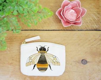 Bee Coin Purse, Change Purse, Coin Pouch, Zip Pouch, Canvas Purse, Organic Purse, Small Zipper Pouch, Bee Gift