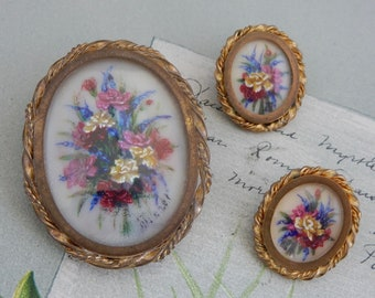 Antique Hand Painted Bouquet Brooch & Clip Earrings   PV49