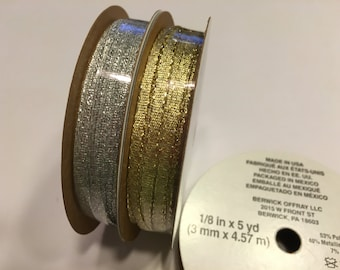 set of metallic gold and silver ribbon 1/8 wide (R2)