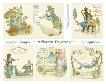 GARDEN DAYDREAM digital collage sheet, Vintage Fairy Tales, Victorian storybook princess, little girl fantasy, altered art ephemera DOWNLOAD