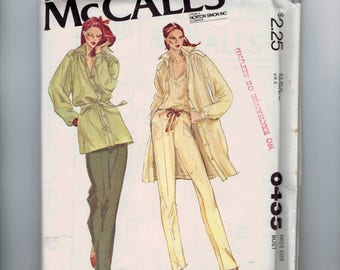 1970s Vintage Sewing Pattern McCalls 6435  Tunic Top Shirt Jacket Pants Size 12 Bust 34 1979 70s UNCUT