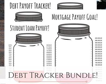 Debt Tracker Bundle Mason Jar - Editable PDF Debt Snowball Debt Chart Saving Money Digital Download Dave Ramsey Organization Goal Chart