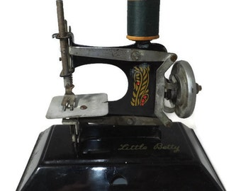 Vintage Toy Sewing Machine - Little Betty, Made in England, Lithographs, Early Collectible Mini Toy Sewing Collectible