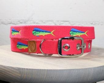 Mahi-Mahi Embroidered Dog Collar - Geranium Red