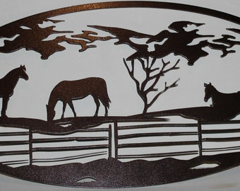 3 Grazing Horses and Mountains Oval Scene Metal Wall Art