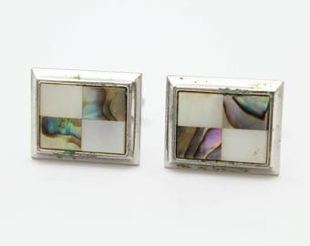 Vintage Checkerboard Rectangle Cufflinks with Abalone and Pearl Shell in Chrome. [11742]