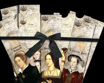 Wives of Henry VIII. Six bookmarks with Envelope. DIGITAL DOWNLOAD