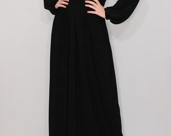 Black maternity dress with sleeves / Maxi dress / Long black dress / Women Handmade dress / Custom