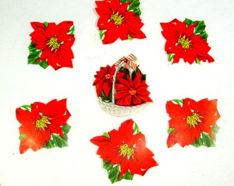 Vintage Poinsettia  Christmas Stickers, Seals, Package Decorations, Embellishments, Red Holiday FlowersSet Of 7, Set One
