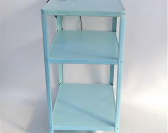 New Price - Vintage Rolling Metal Utility Cart Bar Cart - Aqua Three Shelf with Electical Power Cord and 3-Plug Connection