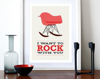 Eames poster print - I Want To Rock With You 2 Red -  A3 Mid Century Modern chair rocker Herman Miller lounge retro